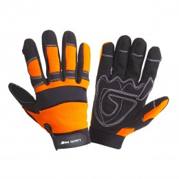 HIGH VISIBILITY PROTECTIVE GLOVES WITH ANTI-CARD PADDING